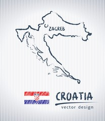 Croatia vector chalk drawing map isolated on a white background