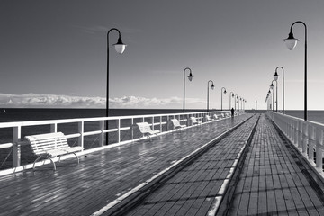 The pier during autumn sunny day.