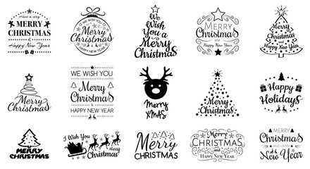 Collection of Christmas typography isolated on white background. Vector. Fototapete