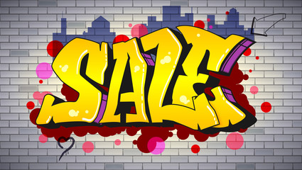 Sale, lettering in hip-hop, graffiti style. Urban ad horizontal poster. Street art on the brick wall. Advertising about discounts. Stylish design of banner with your offer. 3D illustration.