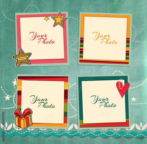 Beau Decorative Vector Template Frame. This Photo Frame You Can Use For Kids  Picture Or Memories