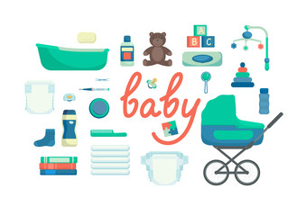 Set of baby items on white background. Baby care supplies. Vector illustration.