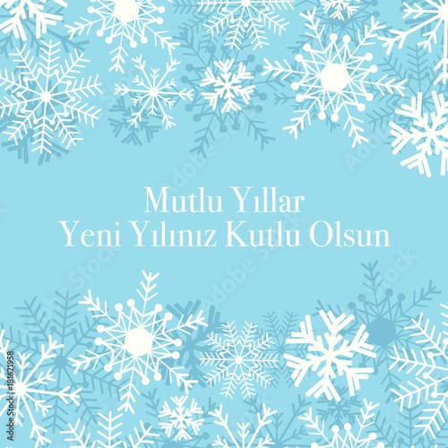 happy new year background winter snow card turkish mutlu yillar
