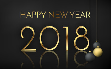 Happy new year 2018 number with shadow and reflection, black matte banner with black and gold christmas balls. Creative premium holiday vector illustration, eps10