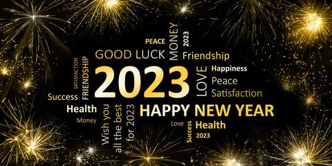 Happy new Year 2023 Glückwunschkarte für Silvester