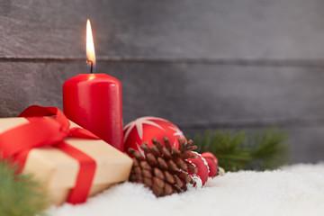 Weihnachten Hintergrund mit roter Kerze