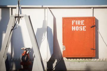 Fire hose on a ship