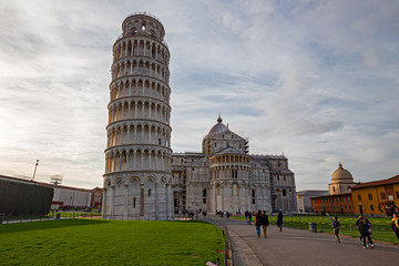 """The Renaissance square of """"Miracles"""" with the famous leaning tower in the city of Pisa."""