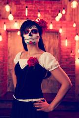 Photo of woman on halloween with white make-up