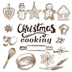 Hand drawn sketch illustration christmas cooking Christmas ginger cookies
