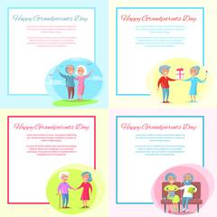 Happy Grandparents Day Posters Set Senior Couple