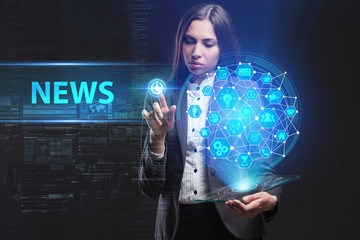 The concept of business, technology, the Internet and the network. A young entrepreneur working on a virtual screen of the future and sees the inscription: News