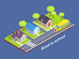 Road to School Through Cottage Town with Crosswalk
