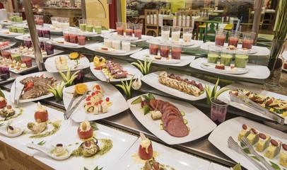 Selction of salad food at a restaurant buffet
