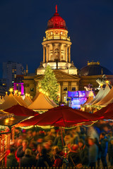 Christmas market near Deutscher Dom in Berlin, Germany