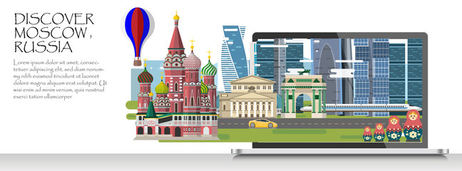 Travel infographic.Moscow infographic; welcome to Russia. Travel to Russia presentation template