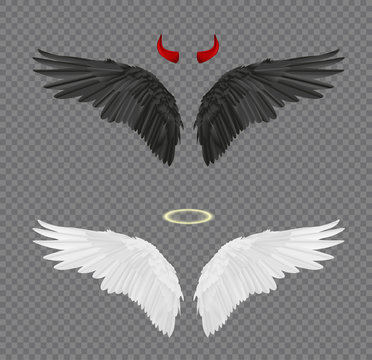 Set of angel and devil realistic wings, horns and halo isolated on transparent background