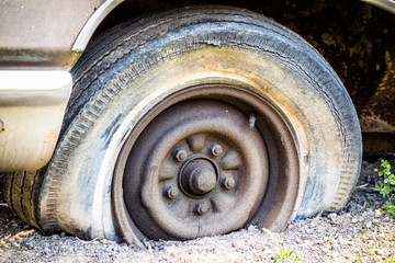old flat tire