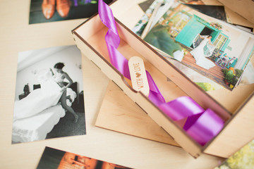 Original gift present. Beautiful wedding photobook and Usb flash drive in Vintage Handmade wooden box. wedding concept.