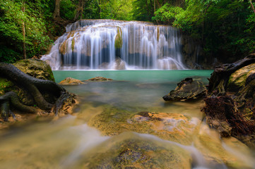 Feather and falls, Waterfalls in Erawan National Park, Thailand