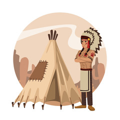 American indian cartoon in round icon