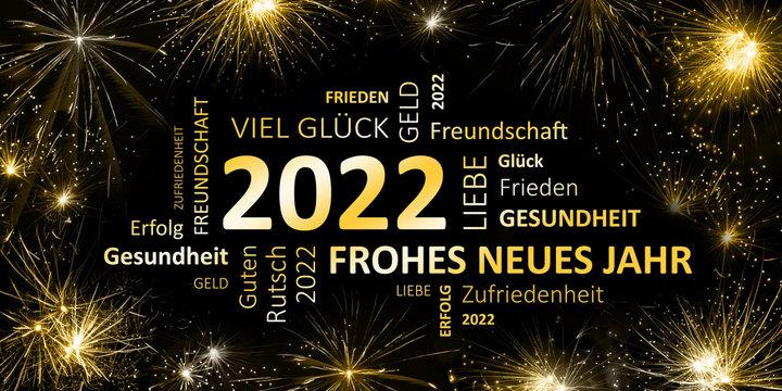 schwarz goldene Silvesterkarte mit Feuerwerk  Frohes neues Jahr 2022