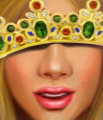 Beautiful girl with fair hair in the crown of a princess with diamonds sapphires and rubies