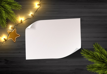 Vector Christmas Background: Top View Of Empty Paper On Wooden Rustic Board With Christmas Lights And Pine Branch.