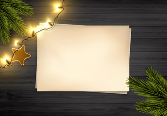 Vector Christmas Background: Top View Of Empty Old Paper On Wooden Rustic Board With Christmas Lights And Pine Branch.