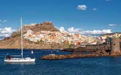Jacht Hafen Castelsardo Stadt Mittelmeerküste Sardinien