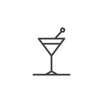 Cocktail glass line icon, outline vector sign, linear style pictogram isolated on white. Martini drink symbol, logo illustration. Editable stroke