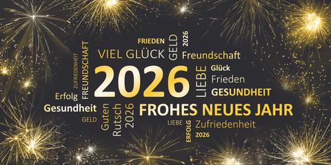 Silvesterkarte mit Glückwünschen für 2026