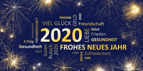 Neujahrsgruß 2020 blau gold mit guten wünschen