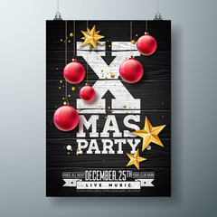 Vector Christmas Party Flyer Design with Holiday Typography Elements and Ornamental Ball, Cutout Paper Star on Vintage Wood Background. Premium Celebration Poster Illustration.