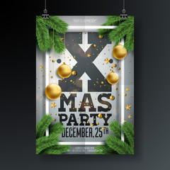 Vector Christmas Party Flyer Design with Holiday Typography Elements and Ornamental Ball, Pine Branch on Folded Paper Background. Premium Celebration Poster Illustration.