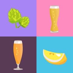 Four Beer Symbol Pictures Vector Illustration