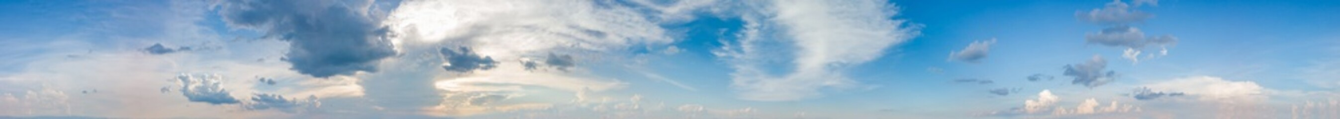 Keuken foto achterwand Hemel Vibrant color panoramic sky with cloud on a sunny day. Beautiful cirrus cloud. Panorama high resolution photograph.