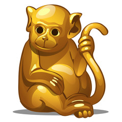 Golden figure of monkey. Chinese horoscope symbol. Calendar of 12 animals. Eastern astrology. Sculpture isolated on white background. Vector illustration