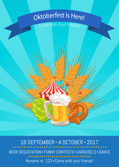 Oktoberfest is Here 2017 Vector Illustration