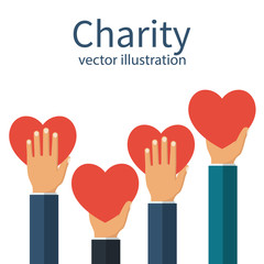 Charity concept. Donator holding heart in their hands. Vector illustration flat design. Isolated on white background. Volunteer Poster. Human helping. Healthcare.