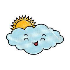 cute cloud with sun kawaii character vector illustration design
