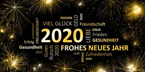 schwarz goldene Silvesterkarte mit Feuerwerk  Frohes neues Jahr 2020