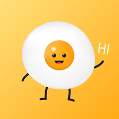 Fried egg cartoon with happy smiley face is standing and put its hand up to greeting someone. breakfast food concept. Character design vector illustration.