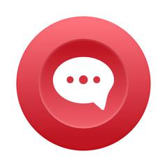 Runder 3D Button - Sprechblase - Kommentar