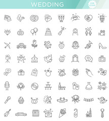 Outline web icon set wedding