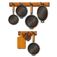 Set of pots, pans, cutting board and mug. Kitchen utensils hung on hooks. Collection of home cookware. Vector Illustration in cartoon style isolated on white background
