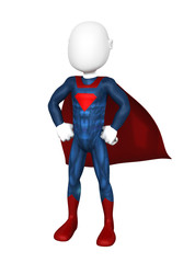 3d person the superhero standing in a confident pose in a raincoat. 3d image. Isolated white background.