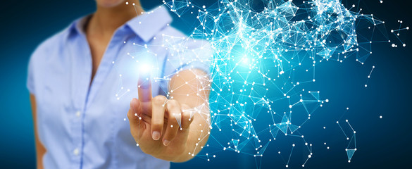 Businesswoman touching flying network connection 3D rendering
