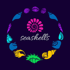 Color set of silhouettes of sea shells in circle. Vector