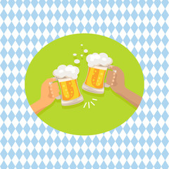 Friends Drinking Beer Shown on Vector Illustration